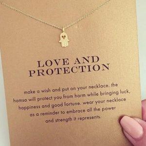 Jewelry - Hamsa 'Strength' Silver Charm Necklace & Card NWT